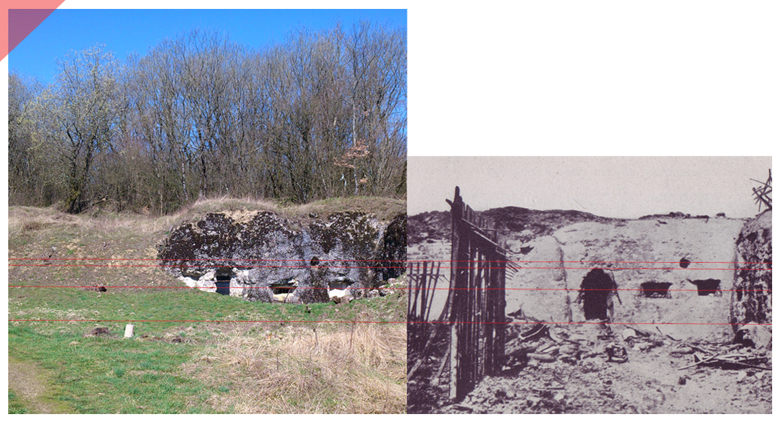 Fort Douaumont North West Entrance Now Then 1916 2017