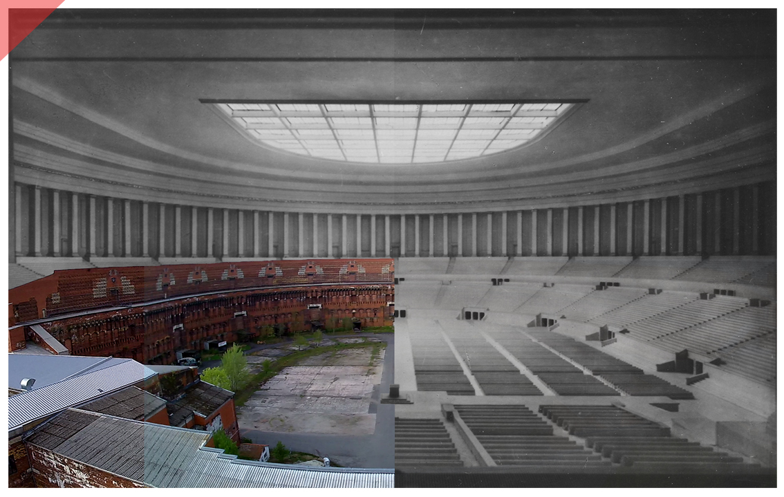 Nuremberg Party Rally Grounds Congress hall roof Now Then