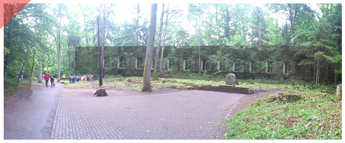 Barack Wolf´s lair Stauffenberg 20th July 1944 Now Then panoramic view