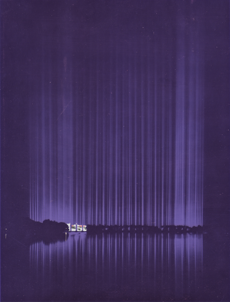 Lichtdom 1938 Walter Hege blaues violettes Licht Dome of light 1938 blue light Nuremberg