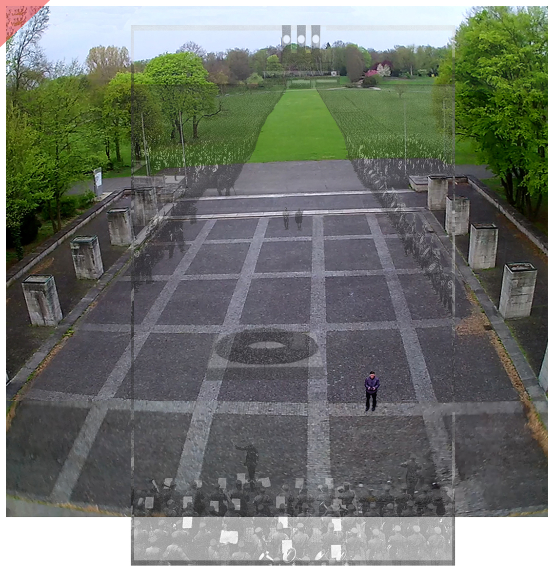 Nuremberg Party Rally Grounds Luitpold arena Röhm 1933 Hall of honour Banner roof bird view Now Then