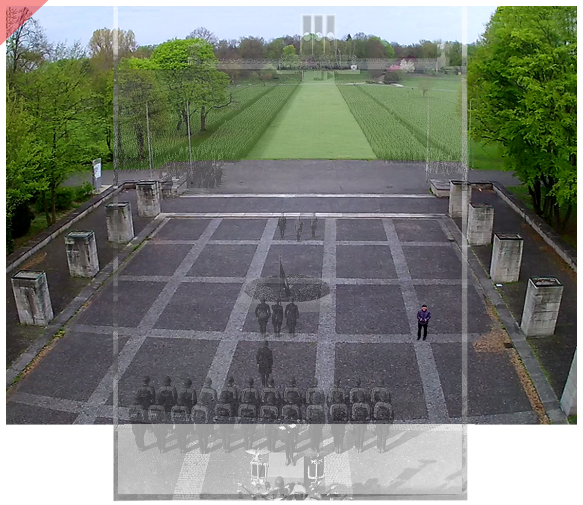 Nuremberg Party Rally Grounds 1934 Luitpold arena Hall of honour bird view Now Then