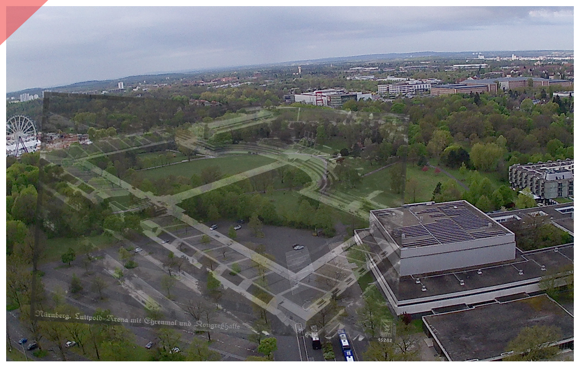 Nuremberg Party Rally Grounds Aerial photo Then and Now Hall of honour grandstand