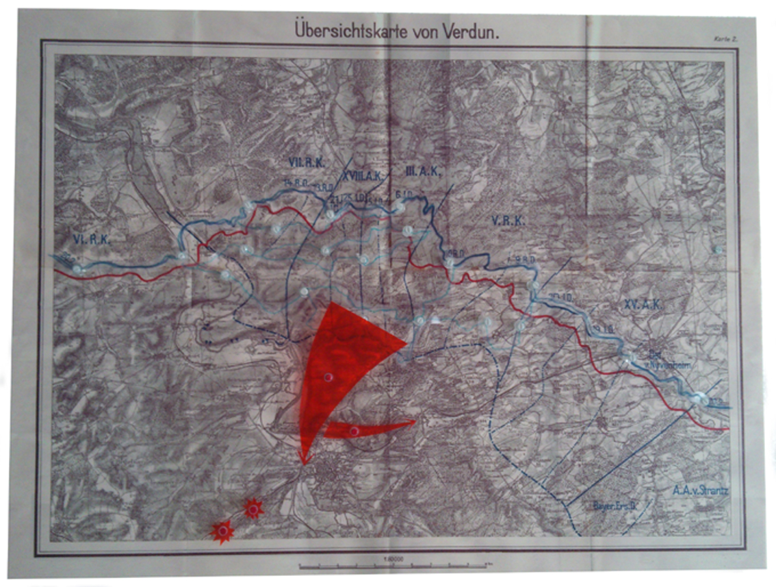 Frontkarte Verdun 1916 Sieg. Plan for Victory Front map Verdun 1916