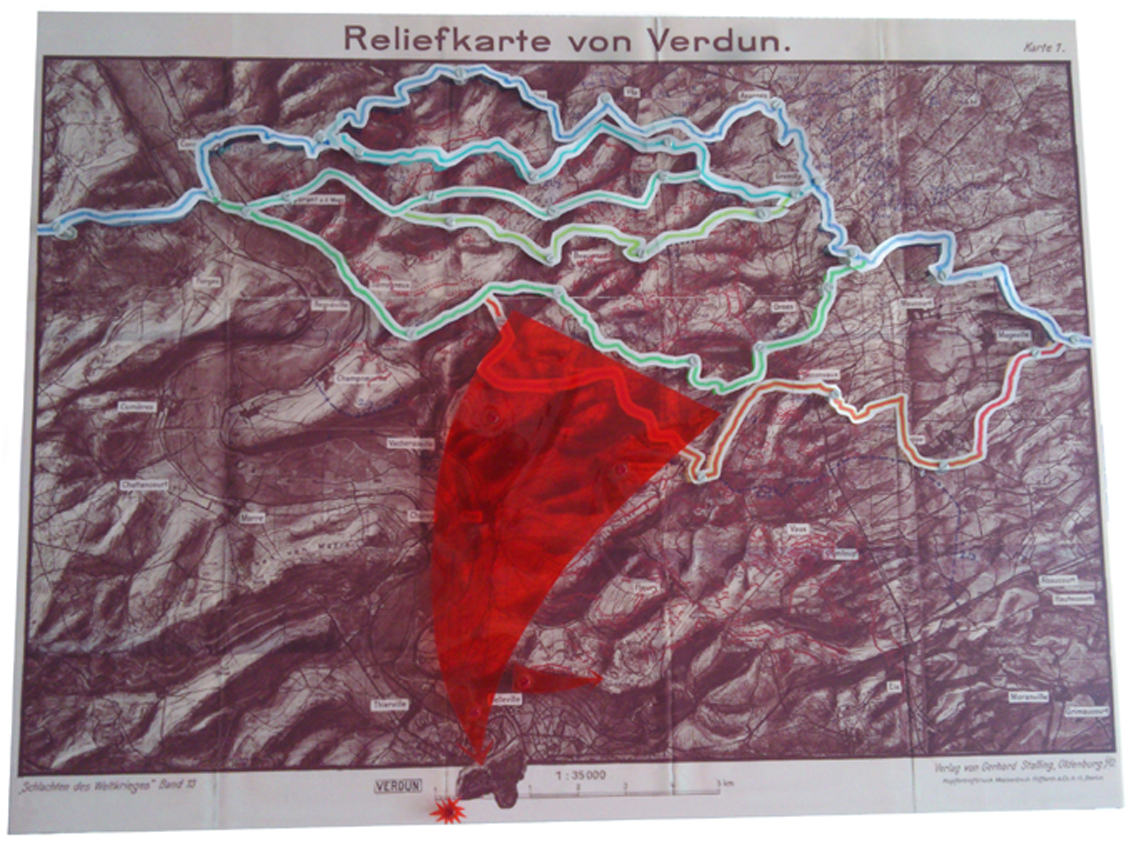 Schlachtplan Verdun 1916. Plan for victory Front map Verdun 1916