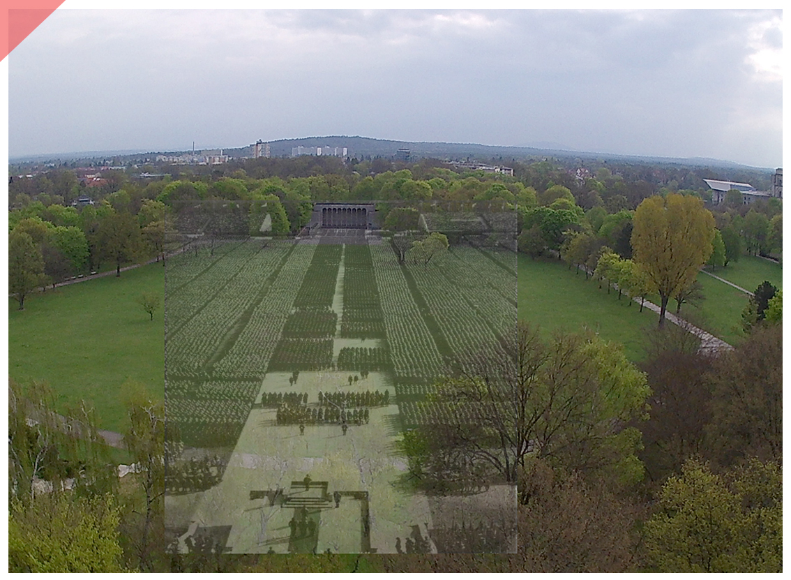 Nuremberg Party Rally Grounds Luitpold arena Triumph will 1934 bird view Now Then
